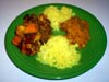 photograph picture of vegan main meal entree Vegetable-Lentil Curry and Spicy Red Dhal recipes for IMBB#19