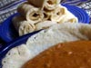 photograph picture of vegan main meal entree Ethiopian Shiro and Faux Injera recipes for IMBB#19