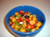 photograph picture of vegan main meal entree Tofu and Tomatoes with Cherry Tomato Salad recipes for IMBB#19