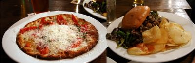 photograph picture of pizza and classic burger 21st Ammendment Bar on Second Street, SoMa, San Francisco