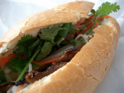 Bahn Mi with BBQ pork pickles mayo cilantro in San Rafael CA