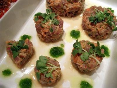 photograph picture of salmon and tuna tatare with wasabi tobiko