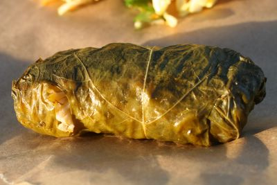 photograph picture of homemade dolmade with fresh grape leaves
