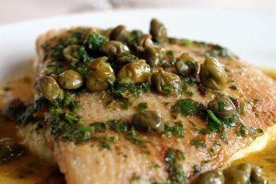 photograph picture of cornish skate wing with capers at the Old Passage Inn at Arlingham, Gloucestershire, England