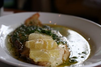 photograph picture pan-fried dover sole the Old Passage Inn at Arlingham, Gloucestershire, England