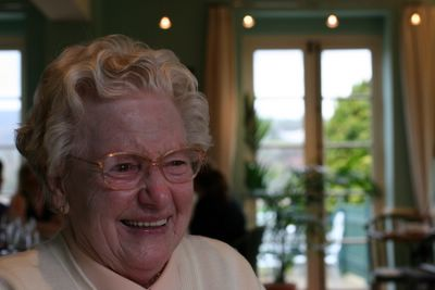 photograph picture ofmy grandmother having a laugh at the Old Passage Inn at Arlingham, Gloucestershire, England