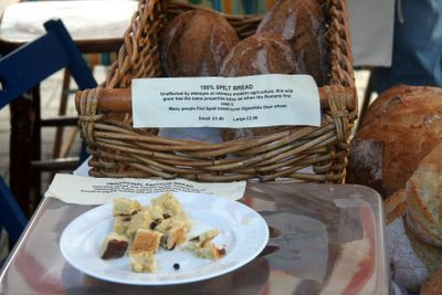 photograph picture of spelt bread at Cheddar Farmers Market, England