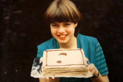 photograph picture of sam's 16th birthday with a chocolate Pierrot Cake