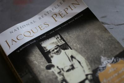 photographs of the cover of Jacques Pepin's book, The Apprentice