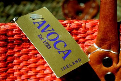photograph picture of my beautiful orange basket from Avoca  at Powerscourt House, Enniskerry, Wicklow, Ireland