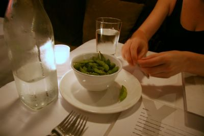 photograph picture of water and edamame. Filed under Cafe Review, San Diego, Chive, Gas Lamp