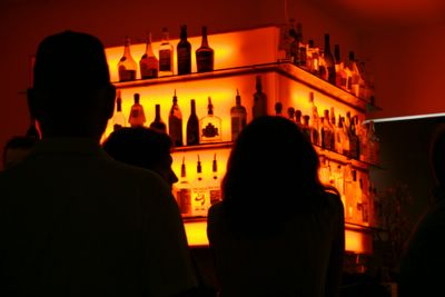 photograph picture of the Chive Bar bathed in orange glow. Filed under Cafe Review, San Diego, Chive, Gas Lamp