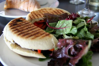 photograph picture of the eggplant panini plate. Filed under Cafe Review, San Diego, Tartine, Coronado