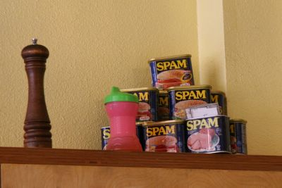 photograph picture of cans of spam. Filed under Cafe/Restaurant Review, San Diego, Cafe 222 Marina District