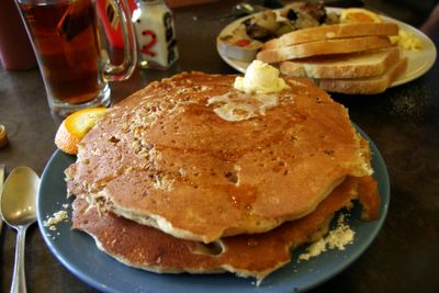 photograph picture of the orange and pecan pancakes. Filed under Cafe/Restaurant Review, San Diego, Cafe 222 Marina District