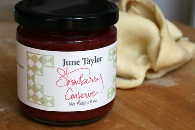 photograph picture of June taylor Strawberry Jam used in Bakewell tart baked using a recipe in Jamie Oliver's Jamie's Dinners Cookbook