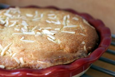 photograph picture of Bakewell tart baked using a recipe in Jamie Oliver's Jamie's Dinners Cookbook