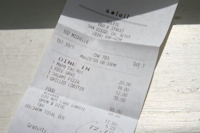 photograph picture of the check/bill. Filed under Restaurant Review, San Diego, Soleil @ the K