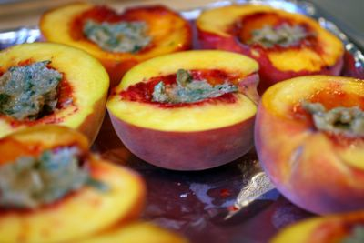 photograph picture of frog hollow peaches with brown sugar and basil butter