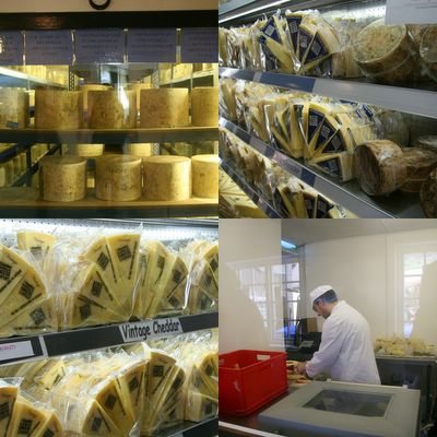 photograph picture of the finished Cheddar Cheeses at the Cheddar Gorge Cheese Company dairy Somerset, the West Country, England