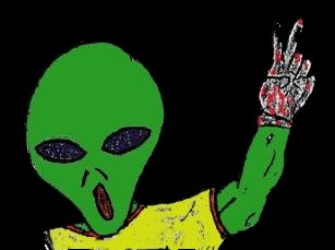 Alien Green Peace Sign