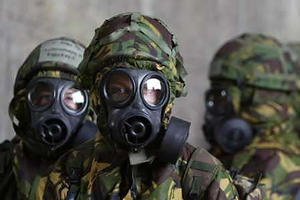 Suited up for chemical weapons attack