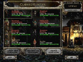 Diablo II: Character sign on screen