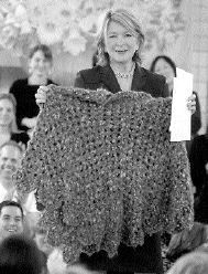 Martha Stewart in her famous poncho.