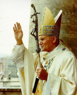 Pope John Paul II: waving to crowd