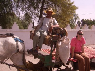 PCV on a horse-drawn cart in Boujad, Morocco