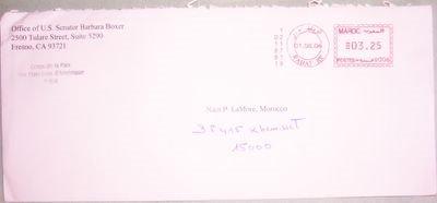 Envelope from Senator Barbara Boxer