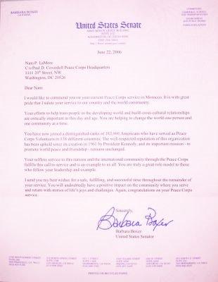 Letter from Senator Barbara Boxer