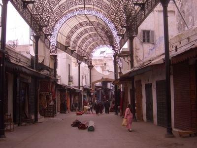 Carpet stalls at the medina in Rabat, Morocco