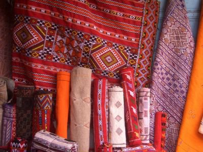 Carpets for sale at the medina in Rabat, Morocco