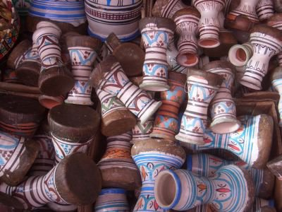 Drums for sale at the medina in Rabat, Morocco