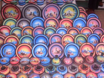 Decorative plates for sale at the medina in Rabat, Morocco