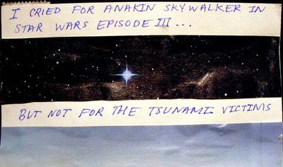 Cried for Skywalker, not for tsunami victims
