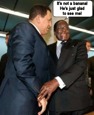 Mugabe checks out his favorite groupie, Hugo Chavez