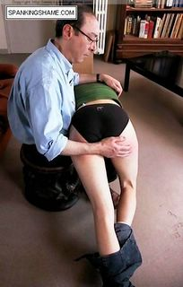 Spanked over black knickers