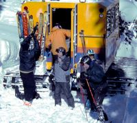 Snowcat rear loading with steps at Chatter Creek Cat Skiing