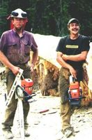 Dale McKnight and Dan Josephson, log builders