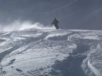 Cat Skiing in deep powder snow on a Glacier