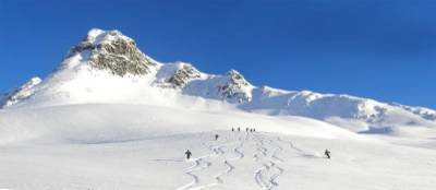 Powder Skiing on Vertebrae Glacier