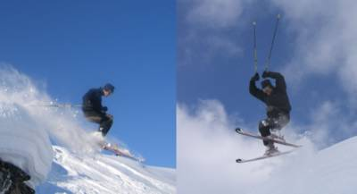 Air Time while Cat Skiing at Chatter Creek