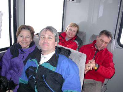 Chatter Creek Snowcat Skiers in a Camoplast (Bombardier) Snowcat