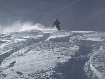 Powder Skiing on Vertebrae Glacier at Chatter Creek