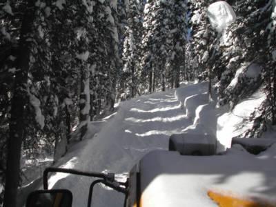 A Bombardier Snowcat on a Chatter Creek sub-alpine road