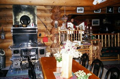 Rustic wood furnture and homey atmosphere at our Golden BC Guest House