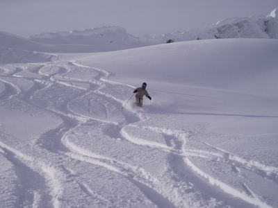 Powder skiing in South Park at Chatter Creek Cat Skiing