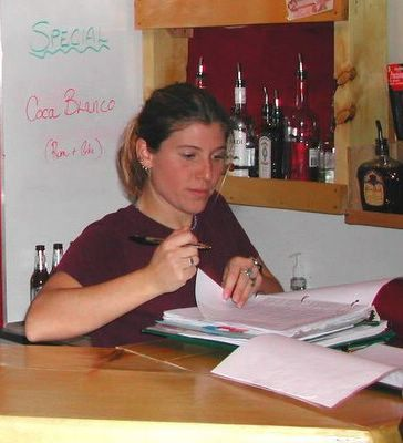 Chatter Creek lodge manager, Jubilee Cacaci, at work on the books